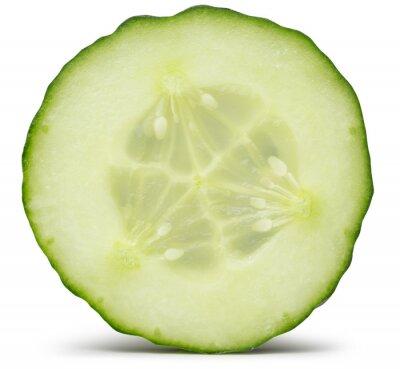 Sticker Concombre tranche isolé sur le fond blanc