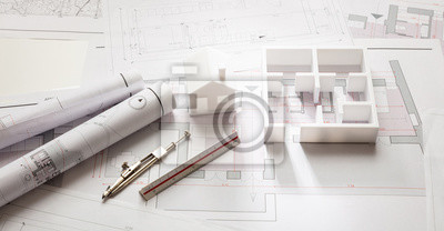 Sticker Construction concept. Residential building drawings and architectural model,
