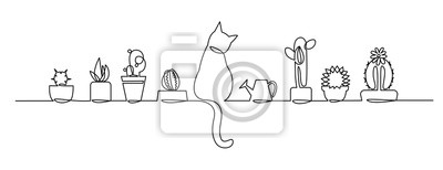 Sticker Continu un dessin au trait de vecteur mignon Cactus. Sketch House Plantes avec un chat et un arrosoir sur le rebord de la fenêtre.