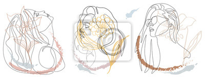 Sticker Continuous line, drawing of set faces and hairstyle, fashion concept, woman beauty minimalist,