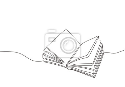 Sticker Continuous one line drawing open book with flying pages. Vector illustration education supplies back to school theme.