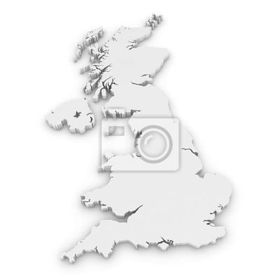 Sticker Contour blanc 3D du Royaume-Uni isolé sur blanc