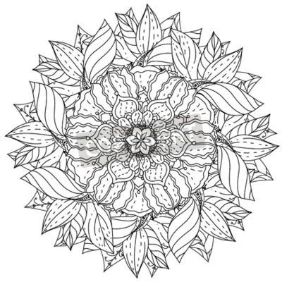 Sticker Contourné Mandala Forme Fleurs Adulte Coloriage Livre