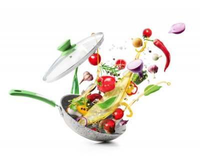 Sticker Cooking concept. Vegetables are flying out of the pan isolated on white background. Healthy food.