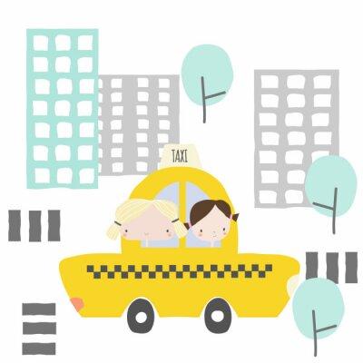 Sticker Copines gaies dans un taxi pour la ville. Graphique pour enfants. Illustration de vecteur dessinés à la main.