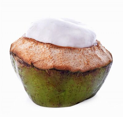 Sticker Coquille de noix de coco isolé sur fond blanc
