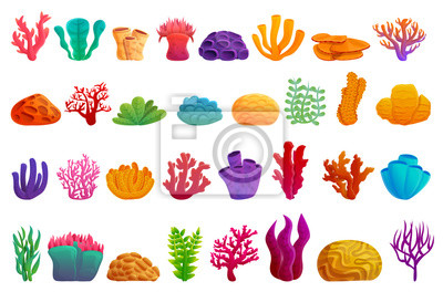 Sticker Coral icons set. Cartoon set of coral vector icons for web design