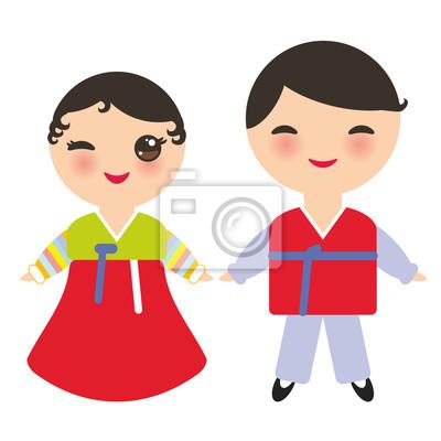 Coreens Kawaii Garcon Et Fille En Costume National Hanbok Joseon Ot