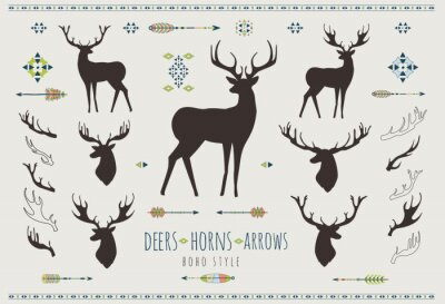 Sticker Cornes rustiques. Ensemble, silhouettes, rustique, bois