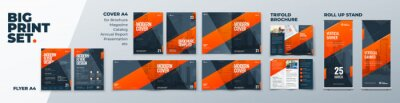 Sticker Corporate Identity Print Template Set of Brochure cover, flyer, tri fold, report, catalog, roll up banner. Branding design. Business stationery background design collection.