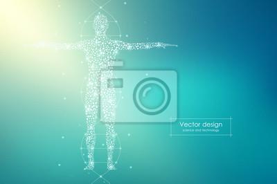 Sticker Corps humain abstrait avec des molécules d'ADN. Concept de médecine, de science et de technologie. Illustration vectorielle