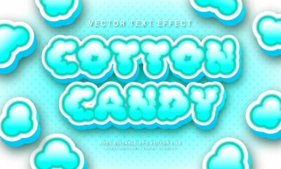 Sticker Cotton candy 3d text style effect themed sweet food menu