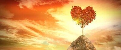 Sticker Coucher de soleil avec arbre coeur