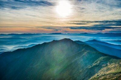 Sticker Coucher de soleil dans les montagnes