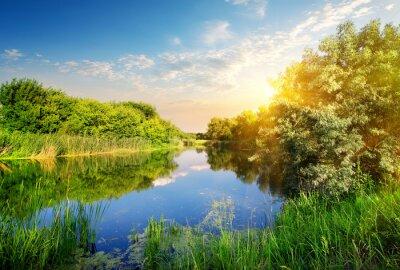 Coucher de soleil sur la rivière Jaune