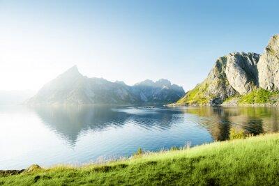 Sticker Coucher du soleil dans les îles Lofoten, Norvège