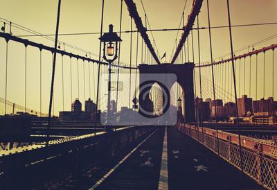 Coucher soleil, après, briller, devant, brooklyn, pont