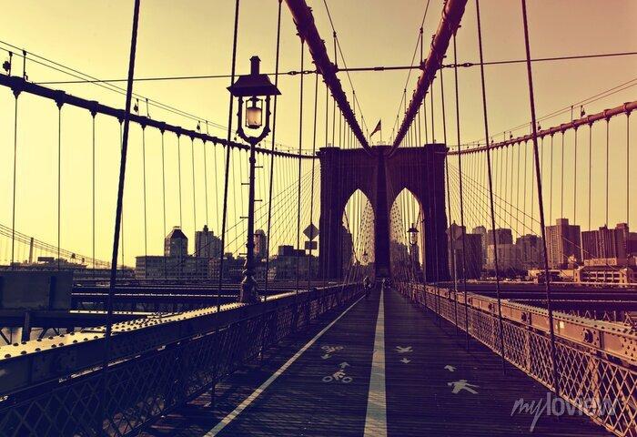 Sticker Coucher soleil, après, briller, devant, brooklyn, pont