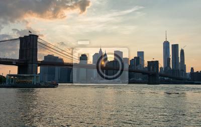Coucher soleil, Manhattan, Skyline, nouveau, York, USA