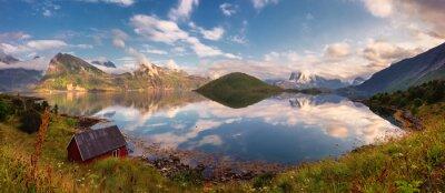 Sticker Coucher soleil, panorama, Lofoten, îles, Norvège