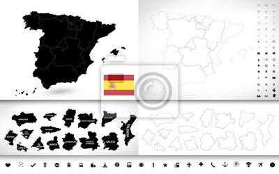 Couleur noire de la carte aveugles d'Espagne