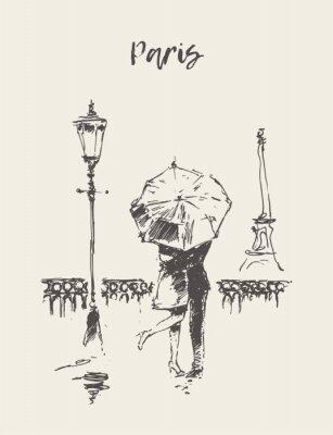 Sticker couple d'amoureux sous la pluie parapluie vecteur de Paris