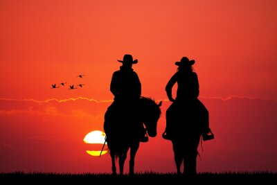 Sticker couple sur silhouette de cheval