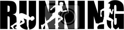 Courant, mot, sprint, silhouette