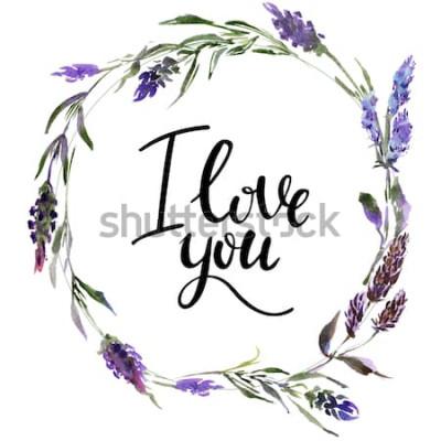 Sticker Couronne de fleurs Valentine. Illustration de fleurs aquarelle avec inscription je t'aime