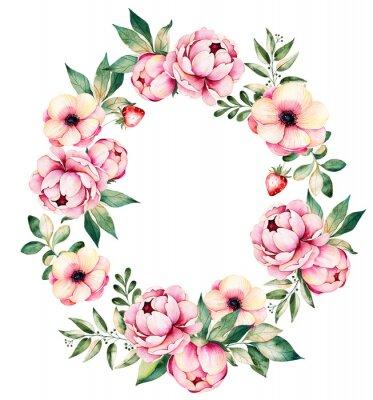 Sticker Couronne florale colorée avec des pivoines, des fleurs, des feuilles, des plantes succulentes, des branches, des fraises et plus. Collection de bouquets délicieux.Perfect pour le mariage, le cadre, le
