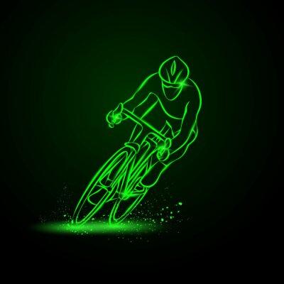 Sticker Course cycliste. Vue de face. Vector illustration de néon.