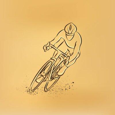 Sticker Course cycliste. Vue de face. Vector illustration dessin rétro.