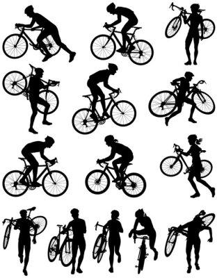 Sticker Course Cyclocross silhouette vecteur