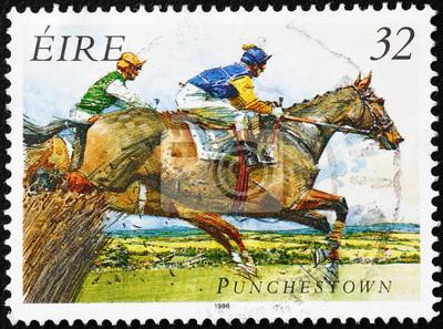 Sticker Course de chevaux sur un timbre-poste irlandais