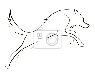 course sur le loup noir sur fond blanc dessin la main. Black Bedroom Furniture Sets. Home Design Ideas