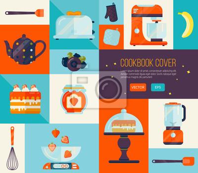 Sticker Couverture De Livre De Cuisine Dans Des Couleurs Vives Grand