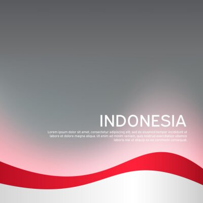 Sticker Cover, banner in national colors of Indonesia. Abstract waving flag of indonesia. Creative background for patriotic holiday card design. National Poster. Vector design