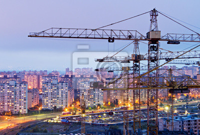Cranes and housing estate