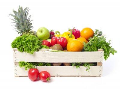 Sticker Crate avec des fruits et légumes