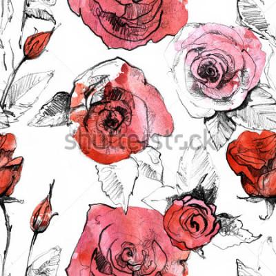 Sticker Crayon, aquarelles dessiné modèle sans couture réaliste de fleur rose rouge réaliste. Illustration de la peinture d'art botanique. Design vintage pour carnet de croquis, carnet de voyage, carte de voe