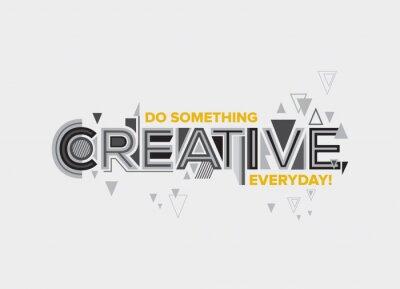 Sticker Créatif. Conception de typographie moderne en style géométrique. Conception créative pour les graphiques muraux, affiches typographiques, design web et graphiques de l'espace de bureau.