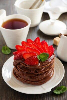 Sticker Crêpes au chocolat avec crème au chocolat et fraises.