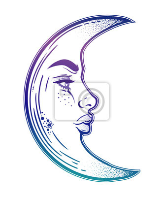 Croissant Lune Romantique Comme Un Visage De Belle Femme Autocollants Murales Millesime Vecteur Univers Myloview Fr