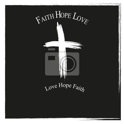 Croix avec l'inscription Faith Hope Love