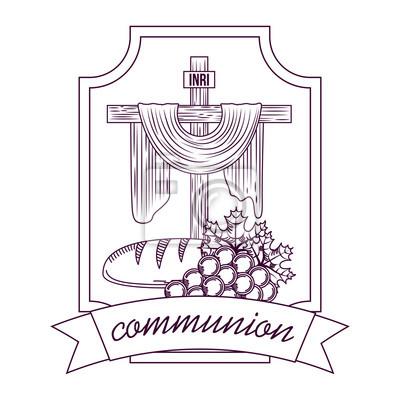 Croix Sacree Communion Pain Et Grappe De Raisins Main Dessin