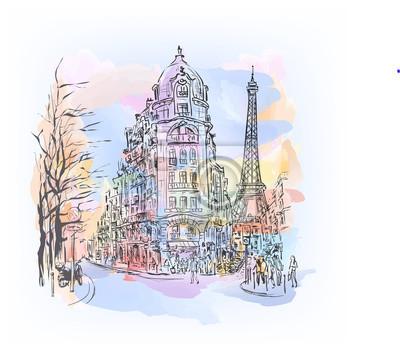 Sticker Croquis à l'aquarelle de Paris