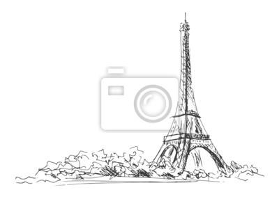 Sticker croquis à la main de la Tour Eiffel. Vector illustration