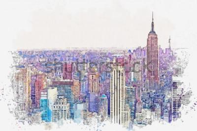 Sticker Croquis aquarelle ou illustration d'une vue magnifique sur la ville de New York avec des gratte-ciels urbains. Paysage urbain ou urbain.