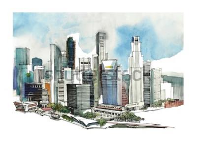 Sticker Croquis aquarelle panoramique de la ville de Singapour. Silhouette de la ville. Main dessiner avec l'architecture. Illustration colorée de la ville d'affaires pour cartes postales, t-shirts,