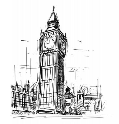 Sticker Croquis de dessin animé dessin illustration du Palais de Westminster, tour de l'horloge Big Ben Elizabeth à Londres, Angleterre, Royaume-Uni.